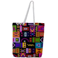 Abstract A Colorful Modern Illustration Full Print Rope Handle Tote (large)