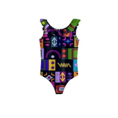 Abstract A Colorful Modern Illustration Kids  Frill Swimsuit