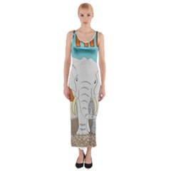 Africa Elephant Animals Animal Fitted Maxi Dress