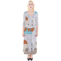 Africa Elephant Animals Animal Quarter Sleeve Wrap Maxi Dress
