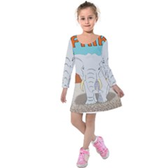 Africa Elephant Animals Animal Kids  Long Sleeve Velvet Dress
