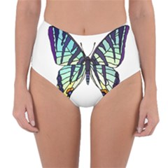 A Colorful Butterfly Reversible High Waist Bikini Bottoms