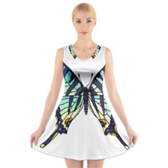 A Colorful Butterfly V Neck Sleeveless Dress