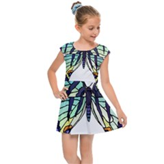 A Colorful Butterfly Kids Cap Sleeve Dress