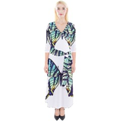 A Colorful Butterfly Quarter Sleeve Wrap Maxi Dress