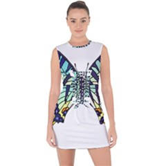 A Colorful Butterfly Lace Up Front Bodycon Dress