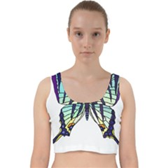 A Colorful Butterfly Velvet Racer Back Crop Top