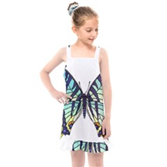 A Colorful Butterfly Kids  Overall Dress