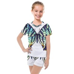 A Colorful Butterfly Kids  Mesh Tee And Shorts Set