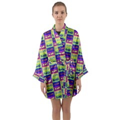 Cartoon Style Marine Life Motif Pattern Long Sleeve Kimono Robe by dflcprints