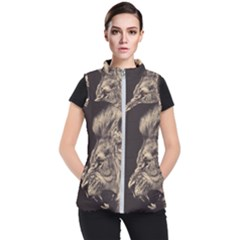 Angry Male Lion Women s Puffer Vest