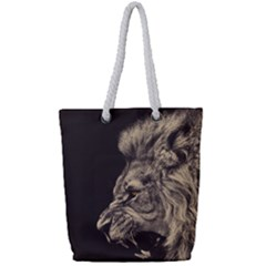 Angry Male Lion Full Print Rope Handle Tote (small)