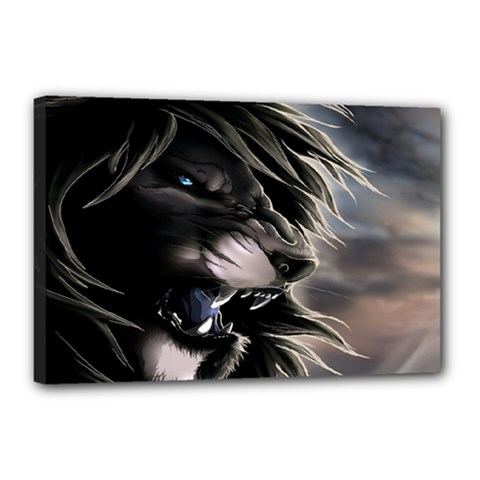 Angry Lion Digital Art Hd Canvas 18  X 12  (stretched) by Samandel