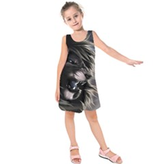 Angry Lion Digital Art Hd Kids  Sleeveless Dress