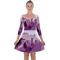 Abstract Painting Edinburgh Capital Of Scotland Quarter Sleeve Skater Dress