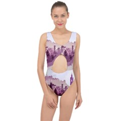Abstract Painting Edinburgh Capital Of Scotland Center Cut Out Swimsuit