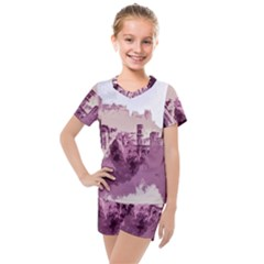 Abstract Painting Edinburgh Capital Of Scotland Kids  Mesh Tee And Shorts Set