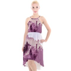 Abstract Painting Edinburgh Capital Of Scotland High Low Halter Chiffon Dress
