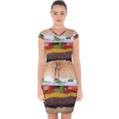 Abstract Barbeque Bbq Beauty Beef Capsleeve Drawstring Dress