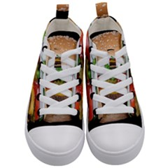 Abstract Barbeque Bbq Beauty Beef Kid s Mid Top Canvas Sneakers