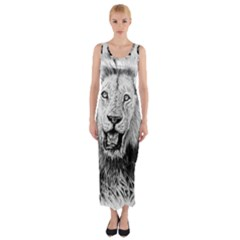Lion Wildlife Art And Illustration Pencil Fitted Maxi Dress