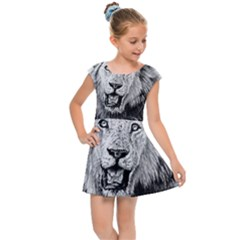 Lion Wildlife Art And Illustration Pencil Kids Cap Sleeve Dress