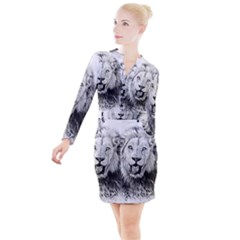 Lion Wildlife Art And Illustration Pencil Button Long Sleeve Dress