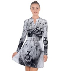 Lion Wildlife Art And Illustration Pencil Long Sleeve Panel Dress by Samandel