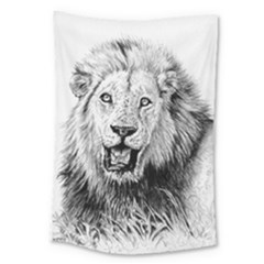 Lion Wildlife Art And Illustration Pencil Large Tapestry