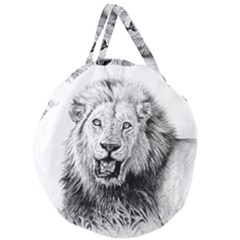 Lion Wildlife Art And Illustration Pencil Giant Round Zipper Tote