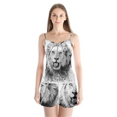 Lion Wildlife Art And Illustration Pencil Satin Pajamas Set