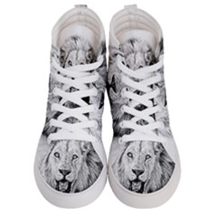 Lion Wildlife Art And Illustration Pencil Women s Hi Top Skate Sneakers