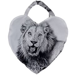 Lion Wildlife Art And Illustration Pencil Giant Heart Shaped Tote
