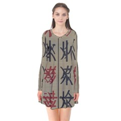 Ancient Chinese Secrets Characters Long Sleeve V Neck Flare Dress