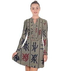 Ancient Chinese Secrets Characters Long Sleeve Panel Dress by Samandel