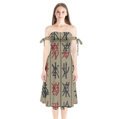 Ancient Chinese Secrets Characters Shoulder Tie Bardot Midi Dress