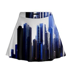 Abstract Of Downtown Chicago Effects Mini Flare Skirt