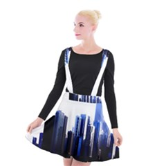 Abstract Of Downtown Chicago Effects Suspender Skater Skirt