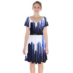 Abstract Of Downtown Chicago Effects Short Sleeve Bardot Dress