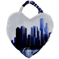 Abstract Of Downtown Chicago Effects Giant Heart Shaped Tote by Samandel