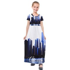 Abstract Of Downtown Chicago Effects Kids  Short Sleeve Maxi Dress