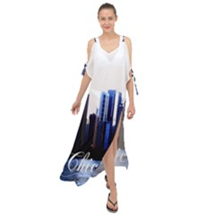 Abstract Of Downtown Chicago Effects Maxi Chiffon Cover Up Dress