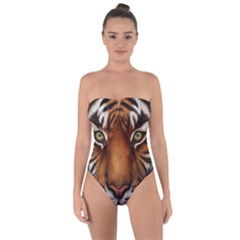 The Tiger Face Tie Back One Piece Swimsuit