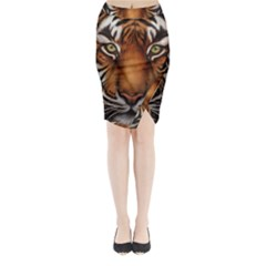 The Tiger Face Midi Wrap Pencil Skirt