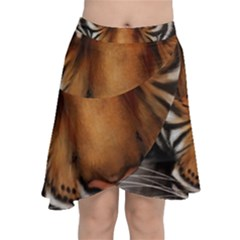 The Tiger Face Chiffon Wrap Front Skirt