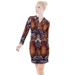 The Tiger Face Button Long Sleeve Dress