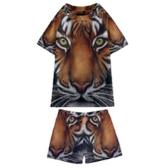 The Tiger Face Kids  Swim Tee And Shorts Set