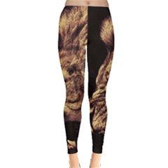 Angry Male Lion Gold Leggings