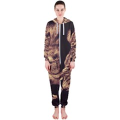 Angry Male Lion Gold Hooded Jumpsuit (ladies)  by Samandel