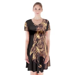 Angry Male Lion Gold Short Sleeve V Neck Flare Dress